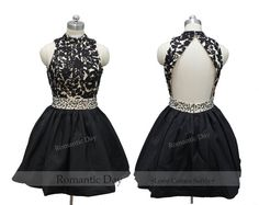 Sexy Black Backless Sequins Lace Appliques high collar homecoming dress/Little Black Dresses/prom dresses/short prom dress party