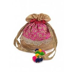 Pink Potli Bag with Sequins