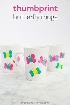 We love Mother's Day crafts that are keepsakes Mom or Grandma will treasure and be able to enjoy on a daily basis. These thumbprint butterfly mugs are the perfect gift for your little one to Diy Mother's Day Crafts, Mug Crafts, Crafts For Teens To Make, Mothers Day Crafts For Kids, Mother's Day Diy, Spring Crafts, Easy Crafts, Homemade Mothers Day Gifts, Mother Day Gifts