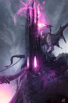 Purple Death by ryky acid dragon castle tower monster beast creature animal   Create your own roleplaying game material w/ RPG Bard: www.rpgbard.com   Writing inspiration for Dungeons and Dragons DND D&D Pathfinder PFRPG Warhammer 40k Star Wars Shadowrun Call of Cthulhu Lord of the Rings LoTR + d20 fantasy science fiction scifi horror design   Not Trusty Sword art: click artwork for source