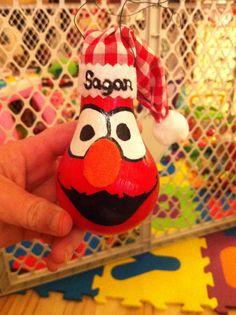 Elmo Ornament #lightbulb #personalized #handmade