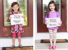 End of the School Year - take a before/after the school year photo, totally doing this with shay! End Of School Year, School Days, Back To School, Beginning Of Kindergarten, Cute Photography, Classroom Setting, School Photos, Family Traditions, Diy Craft Projects