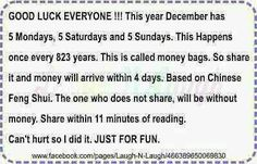 How's this for sharing. I wish everyone a loved filled Christmas. Please send this. I know that in this economy everyone could use the extra money. I don't want to wait until I am over a 880 years old to get it! Lol!