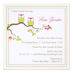 Child Bathe Invitation - Twin Woman Child Owls. *** See more by checking out the picture link