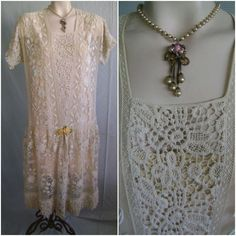 FANCY EMBROIDERED NET &  MIXED LACE AUTHENTIC 1920'S FLAPPER PARTY OR TEA DRESS #Unbranded #Flapper #TeaDress