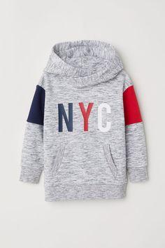 Sudadera con capucha y motivo - Gris jaspeado/Bloques de color - NIÑOS   H&M ES 1