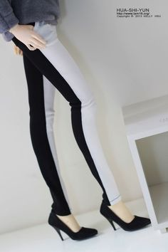 SAYOKO outfit for 10SD dollfie 1/3 BJD Doll - White & Black - Color stitching trousers (No.b307)