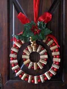 "Wine & Cork: {DIY} Wine Cork Christmas Wreath tutorial. I really like the ""double"" wreath."