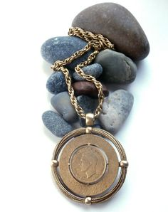 Penny - Coin Necklace - Vintage - Gold Tone - Coin Jewelry - Large Pendant Necklace