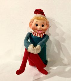 Vintage Knee Hugger Elf Jingle Chime 5 inch Green and Red