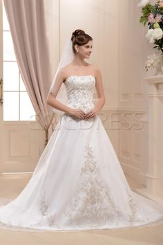 Glamorous  A-LineCathedralPrincess Sweetheart Appliques Cathedral Satin Bridal Gown,173.99,