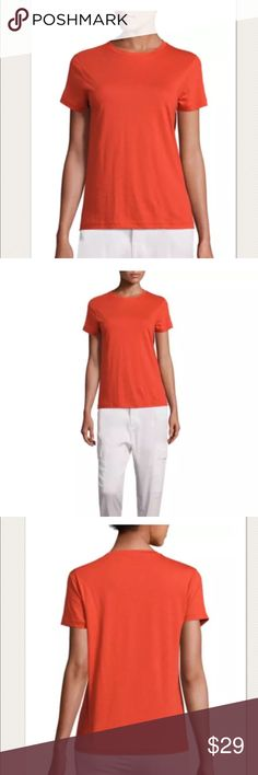 """$75 NEW Vince Pima Cotton Boy T-Shirt in Orange $75 NEW Vince Pima Cotton Boy T-Shirt in Orange Sunrise ~Size M~  New without tags. Retails for $75 + Tax  Soft, lightweight Orange Sunrise shade Short sleeve  Size M  Measures approximately: total length 24"""" bust across 19.75"""" Pima cotton   High end department store shelf pull- new without tags. May have had customer contact Wrinkled from being stored.   PRICED TO SELL FAST! PLEASE ASK ANY QUESTIONS BEFORE PURCHASE, THANKS CHECK OUT MY OTHER…"""