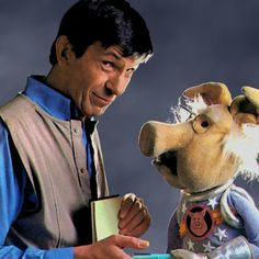 """Nimoy and a """"Pig in Space"""" from the Muppet Show."""