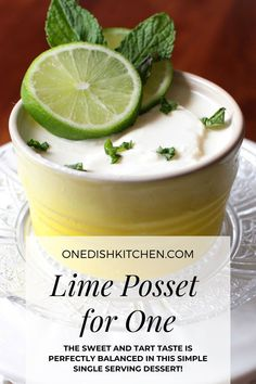 A lovely Lime Posset recipe made with cream, lime juice, and sugar. Easy to make and so rich and creamy. No eggs, no gelatin, no flour, and no cornstarch needed. The sweet and tart taste is perfectly balanced in this simple single serving dessert. Posset Recipe, Slushie Recipe, Single Serve Desserts, Single Serving Recipes, Quick Recipes, Pie Recipes, Cooking Recipes, Tart Taste, Summer Dessert Recipes