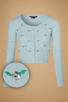 1950s Style Sweaters 50s December Cardigan in Pastel Blue £45.04 AT vintagedancer.com
