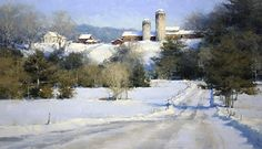 "Green Mountain Winter, by Mark Boedges, oil on linen, 24""x40"""