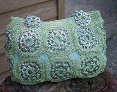Reservados negro reciclado Crochet saco ficha Pop
