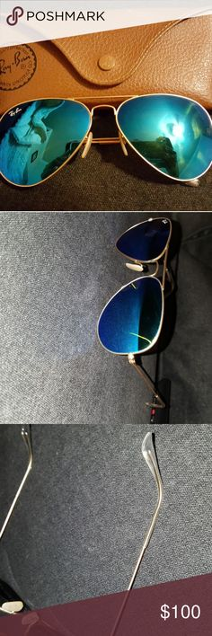 Rayban Aviators Very popular and still trending! The rayban aviator in a blue flash color. It is reflective and very nice pair for summer. The size is 58mm and style RB3025 it's NOT polarized. I bought these back when they first came out around 2014 and the trend is still going strong! In almost perfect condition, slight tiny scratches on the surface. Honestly you can't tell unless you stare very closely but once you have them on it shouldn't obstruct the view. I have the case as well with…