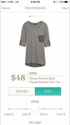 #stitchfix @stitchfix stitch fix https://www.stitchfix.com/referral/3590654  Ezra Elloise Printed Back Mixed Material Knit Top- love this and I'm a big fan of the mixed material! -M