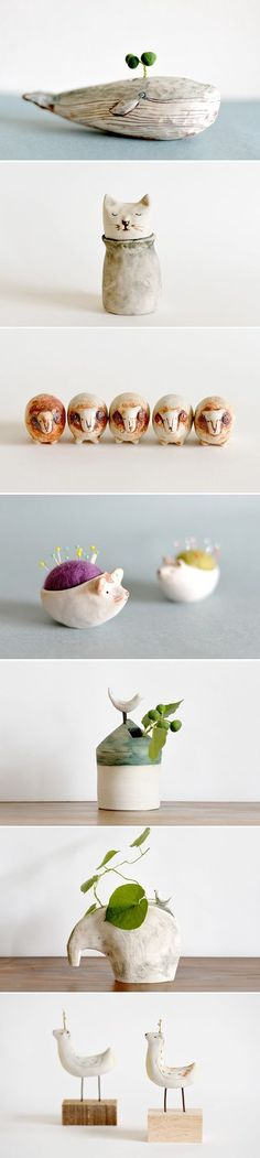 couple good ideas here, make clay sculpture for vase, or pincushion with felted inside:
