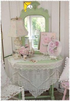 Shabby chic pink, green, and white bedroom