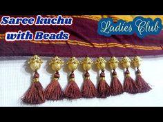 Simple Saree kuchu making I saree tassels new design I saree gonde I Kuchulu with beads Saree Tassels Designs, Saree Kuchu Designs, Blouse Designs, Thread Work, Silk Thread, Hand Work Design, Saree Blouse, Sari, Long Gown Dress