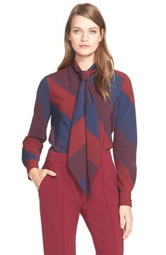 Tory Burch Stripe Bias Cut Tie Neck Blouse available at #Nordstrom