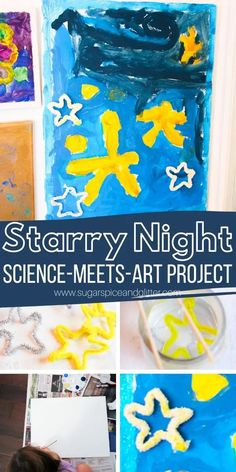 How to make a Starry Night craft with kids to teach them about van Gogh, plus how to grow crystal stars to add to your Starry Night painting for some added magic Steam Activities, Art Activities For Kids, Activity Ideas, Science Activities, Shape Activities, Craft Ideas, Projects For Kids, Art Projects, Crafts For Kids