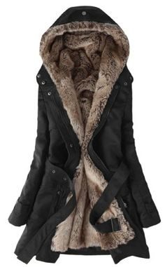 SGG Hooded Faux Fur Lining Long Jacket