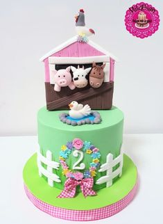 & girly farm cake by MileBian Farm Birthday Cakes, Animal Birthday Cakes, Farm Animal Birthday, Girl 2nd Birthday, Barnyard Cake, Barnyard Party, Farm Cake, Farm Party, Farm Animal Cakes