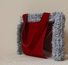 Red top handle bag Red suede bag Red suede handbag by MariliartbyM