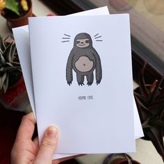 Sloth Greetings Card // You're Cute // Illustrated Every-Day Greetings Card // A5 + Paper Envelope Included by TheArtCaveCreations on Etsy