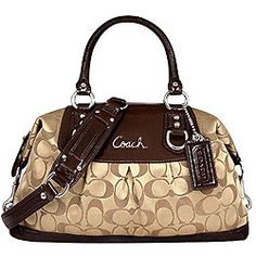 Overstock - This zip-top Ashley Sabrina satchel by Coach features a  signature Coach c3c05347019e2