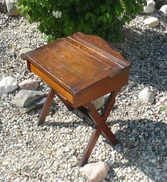 Antique School Desk Childs Wood Desk with by TheEarlyBirdFinds
