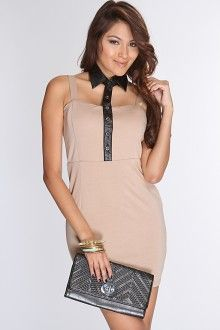 chic beige dress with black collar from amiclubwear