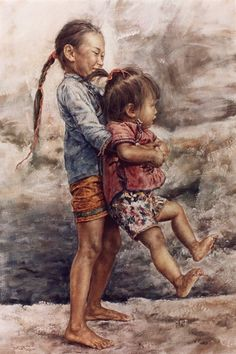 ARTIST WAI MING - Asian Oriental Chinese Fine Art Artwork Paintings Catalog (title: Happy Sister)