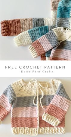 Free Crochet Pattern - Four Color Baby Sweater - Free Crochet Pattern in Red Heart Amore by Daisy Farm Crafts Knitting For BeginnersKnitting HumorCrochet ProjectsCrochet Scarf Crochet Baby Sweater Pattern, Crochet Baby Sweaters, Gilet Crochet, Baby Sweater Patterns, Bag Crochet, Crochet Baby Clothes, Crochet Crafts, Baby Patterns, Crochet Stitches