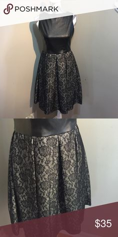 Issac Mizrahi Lace Dress Very popular style! Vegan leather with lace skirt in one piece. New without tag Sexy and chic. Isaac Mizrahi Dresses Midi