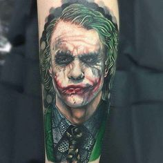 There is no better way to honor The Clown Prince of Crime than by tattooing a permanent piece of Joker art. We've had so many amazing Joker tattoos posted to the GeeksterInk app over the past two m. Joker Tattoos, Batman Tattoo, Comic Tattoo, Badass Tattoos, New Tattoos, Body Art Tattoos, Tattoos For Guys, Sleeve Tattoos, Tatoos