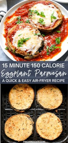 This super easy Healthy Eggplant Parmesan has everything you want in any kind of Parmesan recipe, similar to this portobello mushroom parmesan that is also epic. This recipe is made in the air-fryer, contains no oil but is crazy crispy and tastes fried. Top it with tomato sauce and melty cheese and it is just the best healthy dinner you can make in under 20 minutes. Air Fryer Oven Recipes, Air Frier Recipes, Air Fryer Dinner Recipes, Vegetarian Recipes, Cooking Recipes, Healthy Recipes, Recipes With Eggplant Healthy, Grill Recipes, Entree Recipes