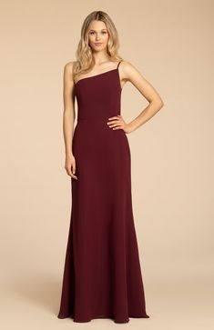 Style 5962 Arriving in Stores Mid Summer 2019 Hayley Paige Occasions bridesmaids gown - Sangria chiffon A-line gown, one shoulder neckline, natural waist. Chiffon Dress, Strapless Dress Formal, Formal Dresses, Long Dresses, Wedding Dresses, Bridesmaid Dress Styles, Wedding Bridesmaids, Dresser, Hayley Paige
