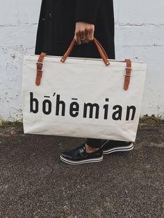 The Bohemian Travel Bag - Bone Leather Handle, Tan Leather, Bohemian Fabric, Travel Bags, Canvas Fabric, Gym Bag, Shoulder Strap, Lettering, Base
