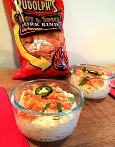 Jalapeño Cheese #Grits w/ Rudolph's Hot & Spicy #PorkRinds thanks to @AndreaCooktales!