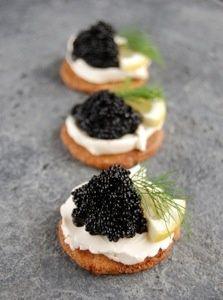 Toasted Brioche Rounds with Creme Fraiche and Caviar