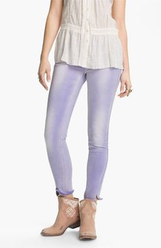 Free People Crop Stretch Denim Skinny Jeans (Clements Blue) available at Nordstrom Lilac, Lavender, Purple, Blue, Tria Laser, Pastel Jeans, Nordstrom Jeans, Denim Skinny Jeans, Stretch Denim