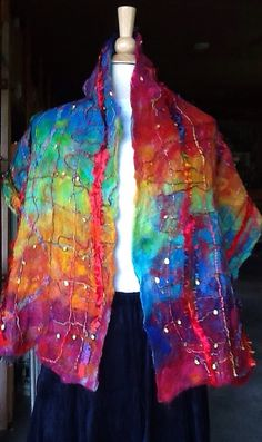 Felted in blue faced leicester dyed in Rainbow from great adirondack, created by Patti Subik