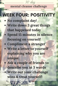 Mental Cleanse Challenge: Week Four | http://www.awelderswife.com