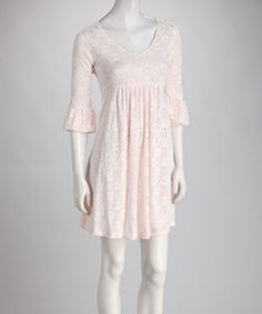 This Reborn Collection Pink & White Lace Bell-Sleeve Scoop Neck Dress by Reborn Collection is perfect! #zulilyfinds