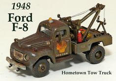 1948 Ford F-8 Tow Truck Ho Scale Train Sets, Ho Scale Trains, Ho Trains, Tow Truck, Pickup Trucks, Brake Repair, Plastic Model Cars, Funny Slogans, Hot Wheels Cars