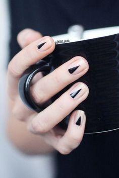 Black geometric nails.